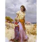 Pino S/n Embell Stretched Canvas Family Retreat Mom Daughter Beach 16x12 Pcoa