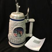 America The Beautiful Beer Stein Pewter Top With Statue Of Liberty/eagle Avon