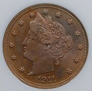 1911 Liberty V Nickel Ngc Ms 63 Bright, Colorful, And Well Struck