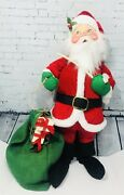 Vintage Annalee Mobilitee Christmas Santa Doll W/ Pipe And Gift Bag Large 30 1983