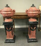 Pair Of Figural Faux Terra Cotta Covered Urn Jardinières With Pedestals