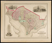Plan Ancien [1857colton] Georgetown And The City Of Washington. Antique Map