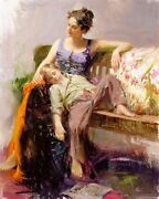 Pino S/n Embellished Canvas Afternoon Nap Boy Asleep On Mom's Lap 20x16 Coa