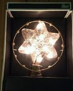 6 Point Clear Gold Lighted Flecked Star Christmas Tree Topper Holiday Decoration