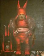 Last Performance Original Oil Canvas Painting Russian Surrealism Signed 1989