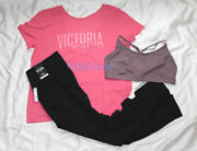 New Victoria's Secret Sport Outfit Knockout Tights Tee Sports Bra Pink Large