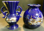 Vintage Pair Of Cobalt Blue And Gold Oriental Pheasant Scalloped Vases Excellent