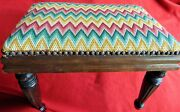 Antique Mahoghany Footstool 1910-1920 Beautiful And Sturdy New Cover