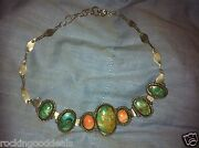 Native American Turquoise And Silver - Kaleidoscope Bracelet Or Choker Necklace