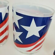 New Vtg Stotter 4 Pc Double Old-fashioned Glasses Cups Plastic American Flags