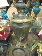 Antique Russian Imperial Brass Samovar With A Trayteapot And Bowl
