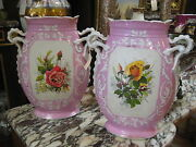 Beautiful Antique Pair Of Porcelain Vases With Paintings Of Flowers