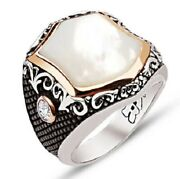 Luxury Turkish Jewelry 925 Sterling Silver Mens Ring With Agate Pearl White Usa