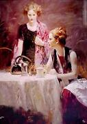 Pino After Dinner Giclee On Canvas Hs/ Coa Size 38x32 Women At Tea/coffee