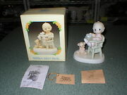Precious Moments Enesco 524077 Babyand039s First Meal 1999 Retired Boy High Chair