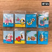 Bts Bt21 Official Authentic Goods Metal Badge Summer Ver 8set By + Tracking Code