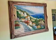 Village By The Sea Oil Paintings 58 X 45 Signed W. Games Large Frame