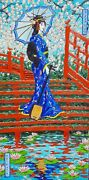 Original Oil Painting Geisha With Samisen On Red Steps