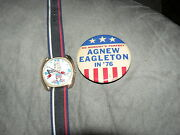 Antique Vintage Watch Dirty Time Company Spiro Agnew Political Campaign Button