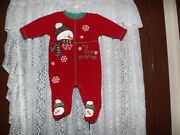 Carters Baby 3-6 Mos.my First Christmas Red/snowman Sleeper