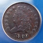 1809 Classic Head Half Cent Anacs Au 55 Details Cleaned Looks Great For Grade