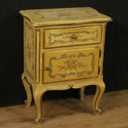 Bedside Table Venetian Furniture Small Table Wooden Lacquered Painting