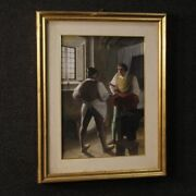 Painting Interior Scene Technical Mixed Media On Cardboard Frame Antique Style