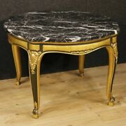 Spanish Lacquered Table Living Room Furniture Golden Wood Marble Antique Style