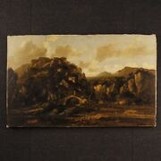 Painting Landscape Oil On Canvas Italian Framework Characters Antique Style 900