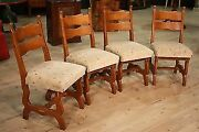 Group 4 Chairs Rustic Armchairs Wood Oak Antique Style 900 Living Room Seats