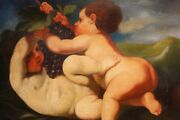 Painting Italian Oil On Canvas Game Putti Frame Figures Naked Italian Antique