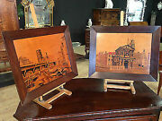 Pair Of Panels Inlaid Dutch Dated Signed Framework Antique Style 20th Century