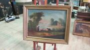 Antique Painting Painting Oil On Canvas Paesaggio With Frame Antique 800 Xix
