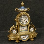 Watch French Bronze Brass Golden Ceramics Painted Antique Style 900