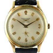 Longines Vintage Gold Dial 10k Gold Filled Automatic Mens Watch On Strap
