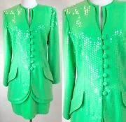 80s Vintage Lillie Rubin Green Sequin Skirt Suit Eighties Outfit S/m Immaculate