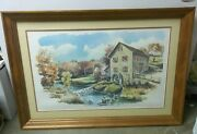 Wood Framed Numbered/signed Patrick J Costello Mill Landscape Watercolor Print