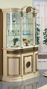 Athena Beige And Gold/ Walnut And Gold Luxury Italian 3 Door Display Cabinet