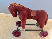 Antique Steiff Ride-on Brown Horse And Wheels Mohair Vintage Toy Saddle Teddy Bear