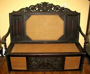 Ornately Wood Carved Antique Italian Hall Bench Chest Perhaps Late 19th Century