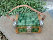 Vintage Beautiful Trunk Chest Hinged Box In Wood Tin Lined Leather Handle