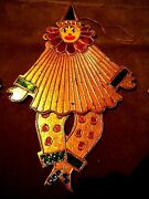 8 Vtg. Lg. Indonesia Wooden Gold Leafed Moveable Clown Ornaments - 10in. X 6in.