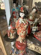 Rare Japanese Doll Collection And Glass Display Cabinet