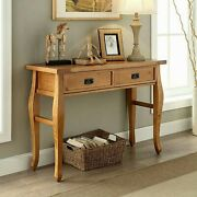Farmhouse Console Sofa Entry Table Rustic Antique Pine Wood Drawers Hall Natural