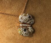 2.12ct White And Fancy Color Diamond 18k Yellow Gold 3d Butterfly Floating Pendant