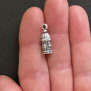 8 Fire Hydrant Charms Antique Silver Tone 3d - Sc196