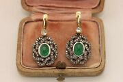 Antique My Style 14k Gold Emerald And Natural Diamond Decorated Amazing Earring