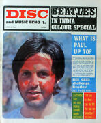 Disc And Music Echo 6 Apr 1968 . The Beatles In India Front Cover . Not Nme