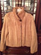 Bloomingdales Lds. Pastel Cord Mink Jacket Sz. 10 With Lg. Collar Button