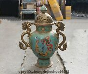 China Dynasty Pure Bronze Cloisonne Eight Treasures Dragon Palace Pot Censer